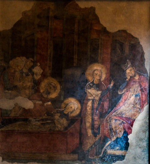 Basilica of Santa Cecilia, fresco depicting the miraculous discovery of the remains of St. Cecilia, XIII century