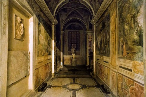 Basilica of Santa Cecilia, corridor leading to the so-called Chapel of the Bath of St. Cecilia, paintings by Paul Brill, figure of St. Sebastian – Stefano Maderno