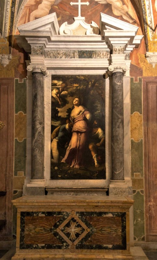 Basilica of Santa Cecilia, The Martyrdom of St. Agatha, painting by an unknown author