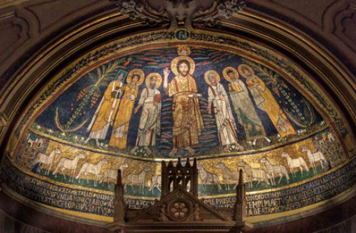 Basilica of Santa Cecilia, mosaics from the beginning of the IX century in the church apse