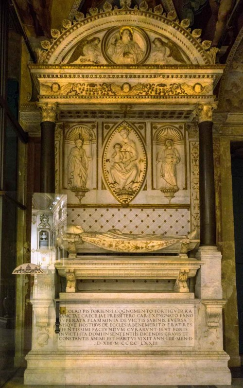 Basilica of Santa Cecilia, tombstone of cardinal Forteguerri, partially completed by Mino da Fiesole
