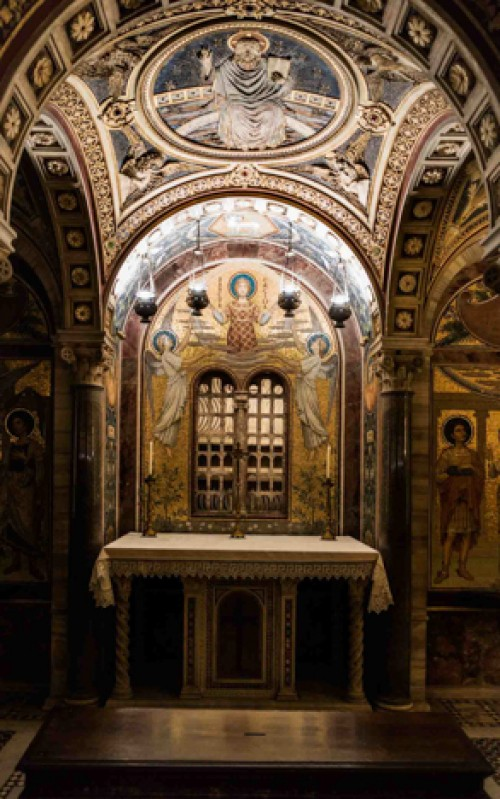 Santa Cecilia, basilica underground, crypt – Altar of St. Cecilia, XX century