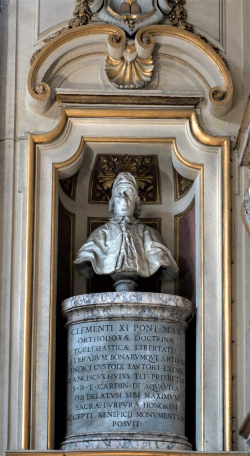 Basilica of Santa Cecilia, bust of Pope Clement XI, church apse