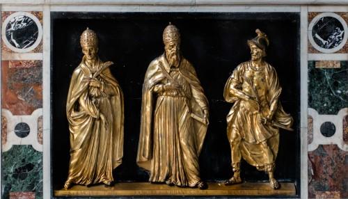 Santa Cecilia, reliefy dekorujące posąg św. Cecylii, m.in. papieża Urbana, Stefano Maderno
