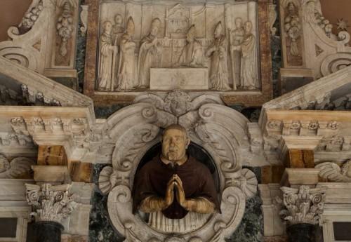 Basilica of Santa Cecilia, image of cardinal Sfondrati, fragment of the tombstone in the church vestibule