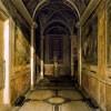 Santa Cecilia, korytarz prowadzący do tzw. kaplicy Łaźni św. Cecylii, malowidła Paul Brill, figura św. Sebastiana - Stefano Maderno