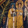 Basilica of Santa Cecilia, apse mosaics – Pope Paschalis I with a model of the church and St. Cecilia putting her arm around him