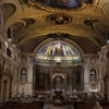 Interior of the Basilica of Santa Cecilia, in the background apse from the times of Pope Paschalis I