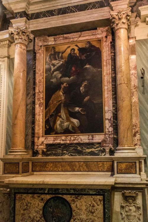 Giovanni Lanfranco, Koronacja Marii w obecności św. Augustyna i św. Hieronima, kaplica rodu Buongiovanni, bazylika Sant'Agostino