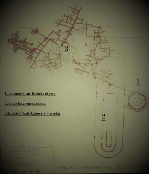 Plan of the so-called Caementarium Agnese with the outline of the cemetery basilica and the Mausoleum  Constantina which is a part of it, via Nomentana