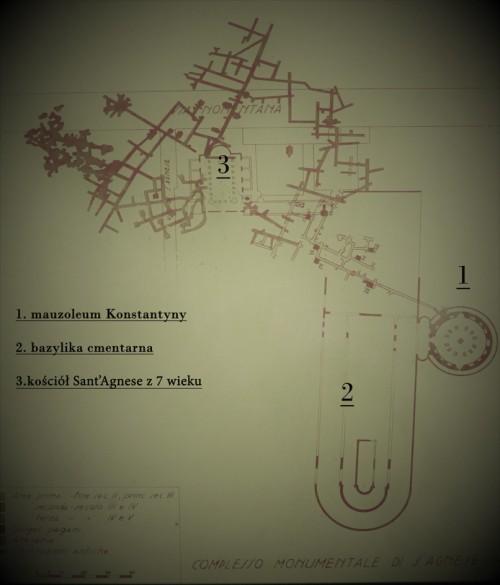 Plan tzw. Caementarium Agnesis z zarysem bazyliki cmentarnej i należącego do niej mauzoleum Konstantyny, via Nomentana