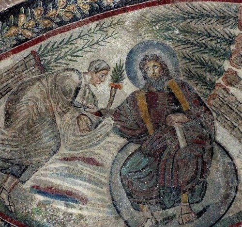 Church of Santa Constanza, Christian mosaics, fragment with the enthroned Christ and St. Peter