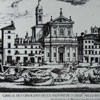 Nadbrzeże Tybru - port Ripetta przed 1702 rokiem, w środku kościół San Girolamo, Giovanni Battista Falda