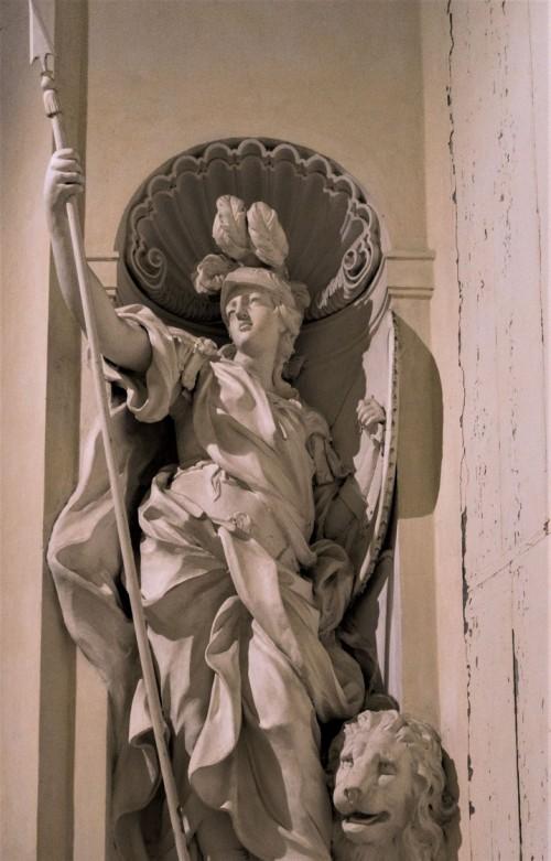 Sant'Ignazio, alegoria Męstwa (Fortezza), jedna z cnót w kaplicy Ludovisi, Camillo Rusconi