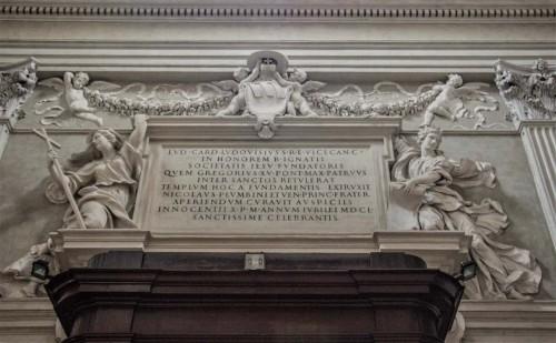 Sant'Ignazio, inskrypcja upamiętniająca fundację Ludovico Ludovisiego, dekoracje - Alessandro Algardi