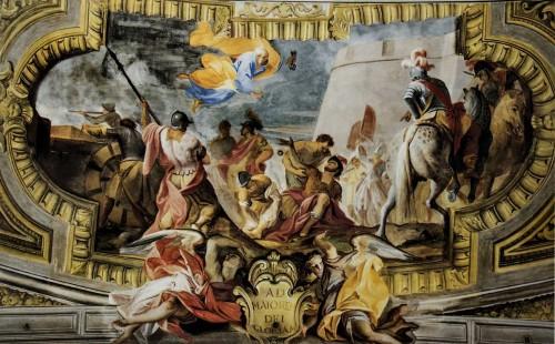 Sant'Ignazio, scena ukazująca rannego Ignacego Loyolę pod Pampeluną - początek jego drogi duchowej, strop prezbiterium, Andrea Pozzo