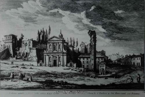 Sylweta nieistniejącego kościoła Santa Maria Liberatrice zniszczonego w trakcie prac na Forum Romanum na początku XX w., Giuseppe Vasi