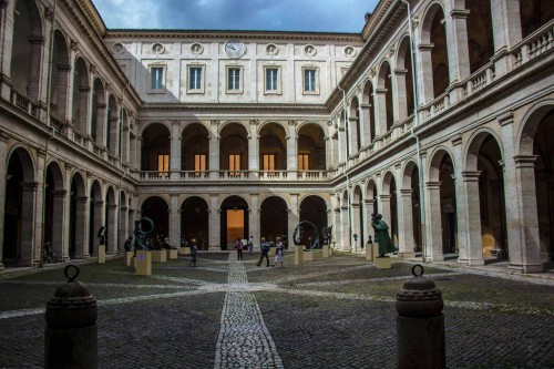 Church of Sant'Ivo alla Sapienza, old university courtyard, view from the church