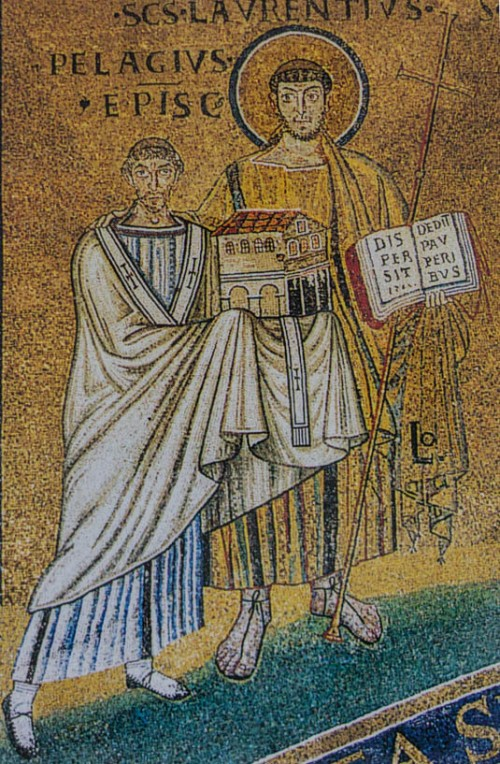 Basilica of San Lorenzo fuori le mura, fragment of a mosaic with St. Lawrence and Pope Pelagius II
