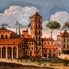 Basilica of San Lorenzo fuori le mura, view of the church from the beginning of the XVII century, fragment of the decoration of the secretary desk from Museo di Roma, Palazzo Braschi