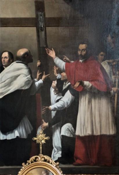 Kościół San Lorenzo in Lucina, Karol Boromeusz w procesji św. Krzyża, Carlo Saraceni