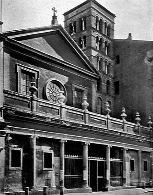 San Lorenzo in Lucina, fasada z 1911 r., jeszcze z częściowo zabudowanym przedsionkiem kolumnowym, zdj. Wikipedia