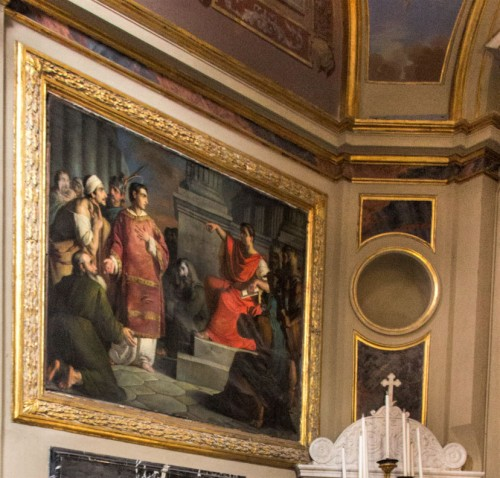 Basilica of San Lorenzo in Lucina, Chapel of St. Lawrence, Lawrence with the Poor in front of Emperor Valerian, Giuseppe Creti