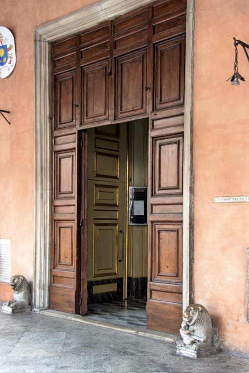 Church of San Lorenzo in Lucina, portal with two antique lions flanking it