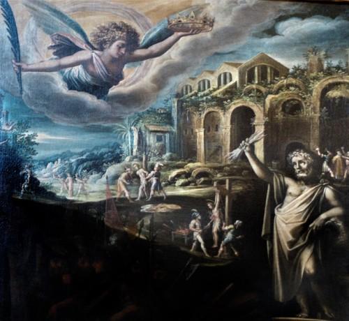San Lorenzo in Miranda, fragment obrazu Męczeństwo św. Wawrzyńca, malarz nieznany