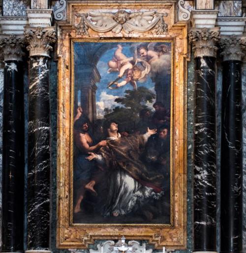 Church of San Lorenzo in Miranda, The Martyrdom of St. Lawrence, Pietro da Cortona, main altar