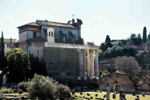 Church of San Lorenzo in Miranda seen from via dei Fori Imperiali
