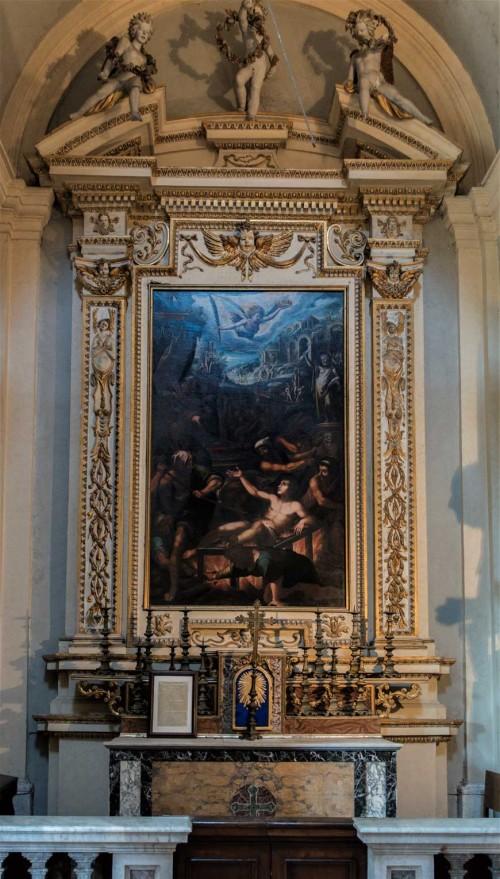San Lorenzo in Miranda, ołtarz boczny z obrazem Męczeństwa św. Wawrzyńca, nieznanego malarza
