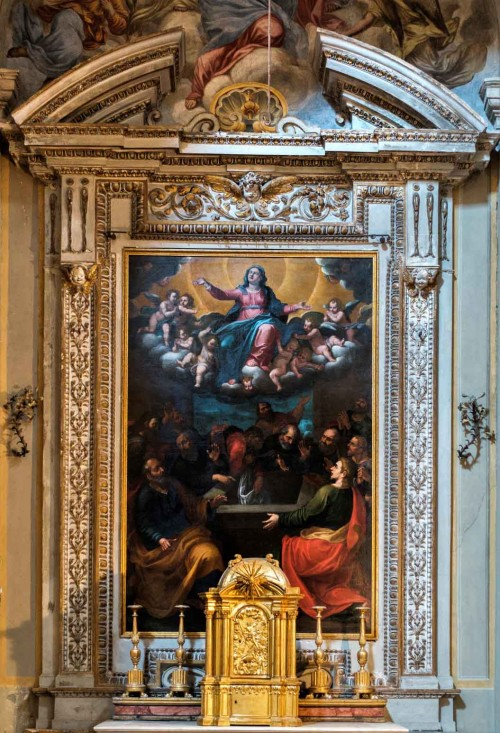 Church of San Lorenzo in Miranda, side altar with the painting Assumption of the Virgin Mary, unknown painter
