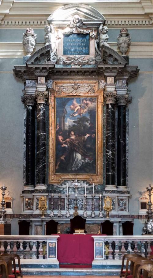 San Lorenzo in Miranda, ołtarz główny - Męczeństwo św. Wawrzyńca, Pietro da Cortona