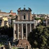 Church of San Lorenzo in Miranda, the former temple of Empress Faustina and Emperor Antoninus Pius, view from Palatine Hill