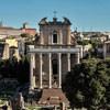 San Lorenzo in Miranda, dawna świątynia cesarzowej Faustyny i cesarza Antonina Piusa, widok z Palatynu