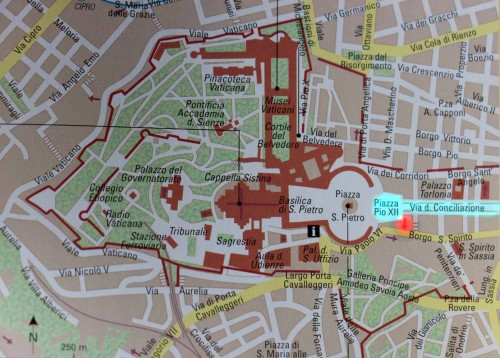 Map depicting location of the church (marked in red), former Piazza Rusticucci is the present-day Piazza Pio XII