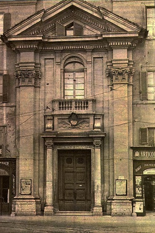 Church of San Lorenzo in Piscibus, façade of the old church, view from Piazza Rusticucci, pic. Wikipedia, author – Christianpppp