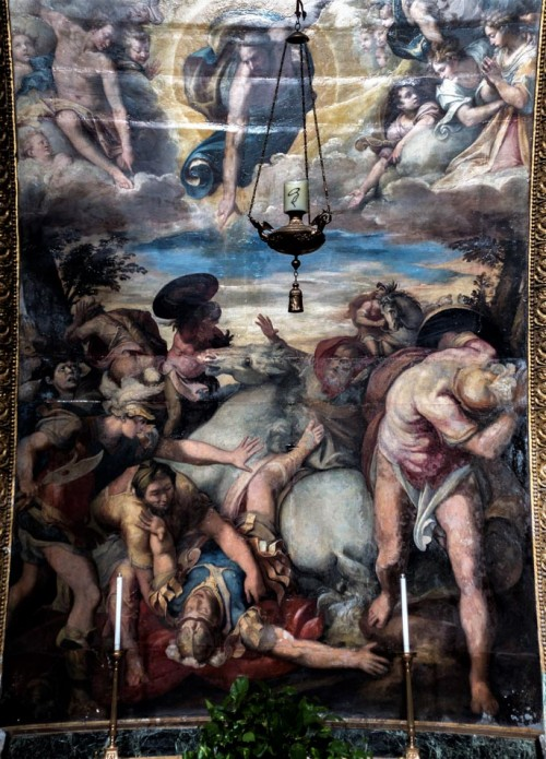 San Marcello, kaplica rodu Frangipane, ołtarz główny - Nawrócenie św. Pawła, Taddeo Zuccari
