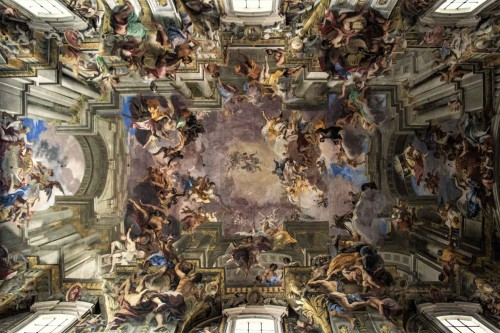 Malowidło stropu kościoła Sant'Ignazio, którego pierwszym dobroczyńcą i fundatorem był Ludovico Ludovisi