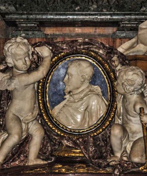 Medalion z wizerunkiem kardynała nepota Ludovica Ludovisiego, fragment nagrobka w kościele Sant'Ignazio