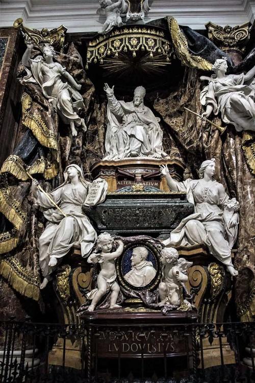 Nagrobek papieża Grzegorza XV i kardynała Ludovico Ludovisiego, kościół Sant'Ignazio, prawy transept
