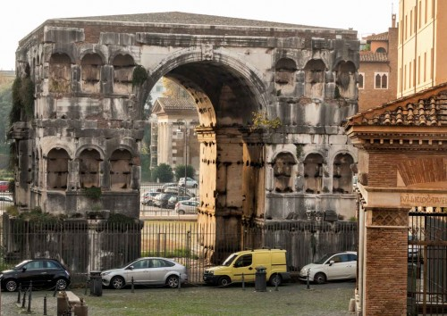 Arch of Janus seen from the Church of San Giorgio in Velabro, Temple of Portunus in the background