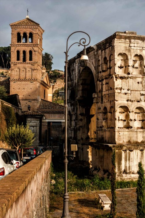 Arch of Janus, The Arch of Silversmiths and campanile of the Church of San Giorgio in Velabro in the background