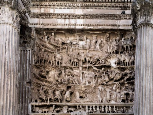 Triumphant arch of Emperor Septimius Severus, relief with the story of the conquest of the Parthian Empire