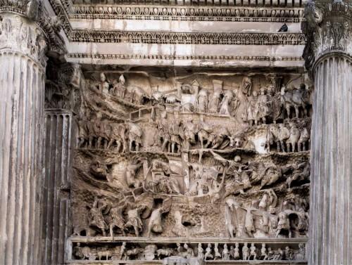 Łuk triumfalny cesarza Septymiusza Sewera, relief z historią podboju państwa Partów