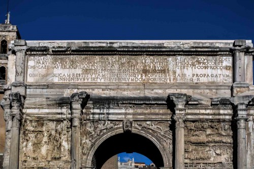 Triumphant arch of Emperor Septimius Severus seen from the Forum Romanum, inscription commemorating the emperor