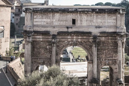 Triumphant arch of Emperor Septimius Severus seen from Capitoline Hill, reliefs (on both sides) commemorating the emperor's expeditions against the Parthians