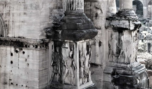 Base of the triumphant arch of Septimius Severus, figures of prisoners of war