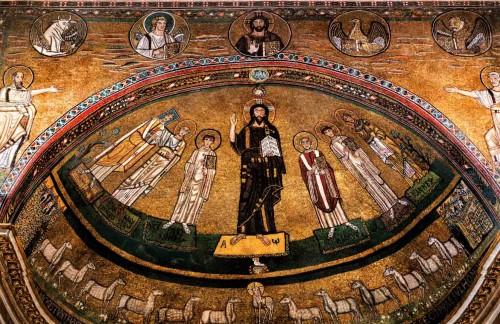 San Marco, mozaiki absydy - Chrystus między świętymi (papież Grzegorz IV, Marek Ewangelista, Felicissimus, papież Marek, Agapit, Agnieszka)